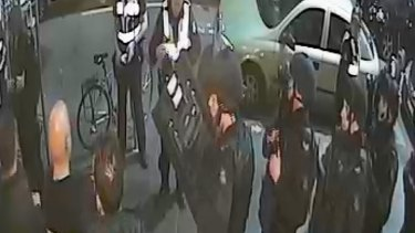 A still from CCTV footage showing police at Inflation night club.