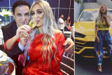 """""""You like?"""" Images fromNissyNassif's Instagram page showingher and husband Jean Nassif and her prized yellow Lamborghini."""
