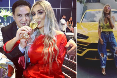 """You like?"" Images from Nissy Nassif's Instagram page showing her and husband Jean Nassif and her prized yellow Lamborghini."