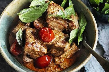 Roast pork belly red curry.
