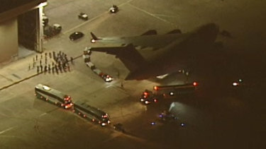 ADF personnel arrive in Melbourne on Friday night.