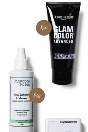 La Biosethetique Glam Color Advanced, $50. Christophe Robin Hydrating Leave-in Mist, $49.