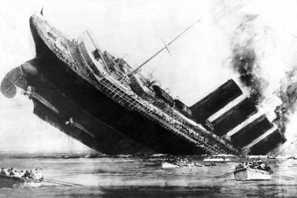 German submarine sinks the Lusitania, 1915.
