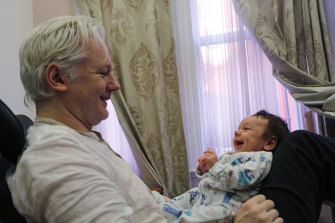 WikiLeaks founder Julian Assange with Gabriel, the first of the two children that he was said to have fathered while in asylum at the Ecuadorian embassy in London.