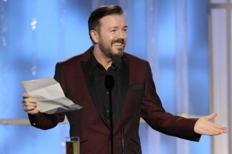 Not so funny ... Ricky Gervais hosting the Golden Globes.