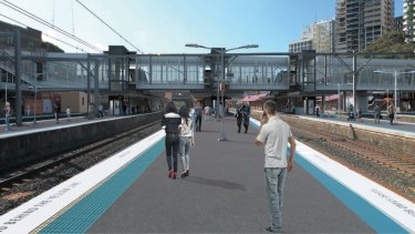 An artist's impression of the new footbridge and lifts at the southern end of Redfern station.