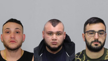 From left, Abdullah El Nasher, Ali El Nasher and Mikhael Myko are wanted over the shootings at Melbourne Pavilion.