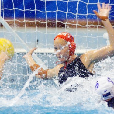 Liz Weekes makes  a save for Australia in the gold medal match.