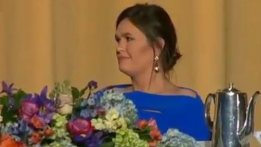 Sarah Huckabee Sanders was stony-faced as she was mocked by comedian Michelle Wolf at the White House Correspondents' dinner.
