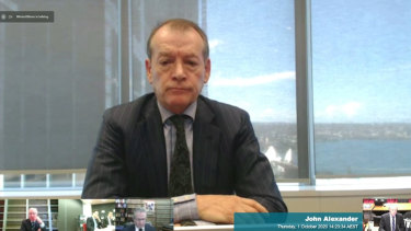 Crown director John Alexander fronts the inquiry via video link.