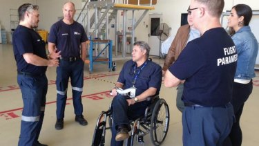 Mr Berg was reunited with the RACQ LifeFlight Rescue helicopter crew who helped to saved his life on Friday.