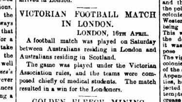 A clipping of a report about the game that was published in The Age at the time.