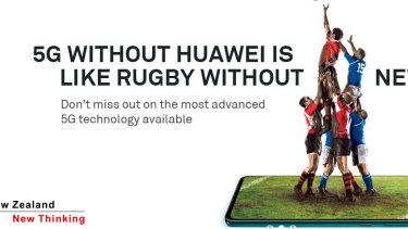 The Huawei advertisement seen in New Zealand.
