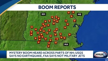 Reports of the boom on a map shown by local media.
