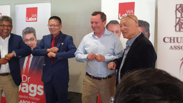West Australian premier Mark McGowan announcing the grant to the Chung Wah Association with Ting Chen, left.