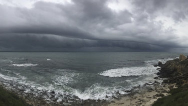The storm approaches the coast at Cottesloe.