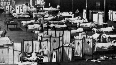 The 1918 Spanish Flu pandemic killed millions of people worldwide. Here,  patients lie quarantined at the Melbourne Exhibition Buildings.
