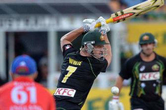 Cameron White represents Australia in a T20 match.