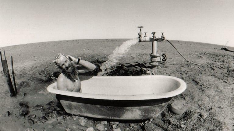 Peter McRae enjoys bath, outback-style.