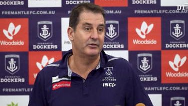 Ross Lyon was quick to defend the defensive workrate of champion Nat Fyfe.