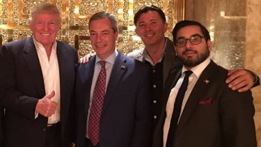 Raheem Kassam, right, in the company of US President Donald Trump and Nigel Farage.
