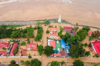 An aerial view of the flooding in Dili, Timor Leste on Sunday.