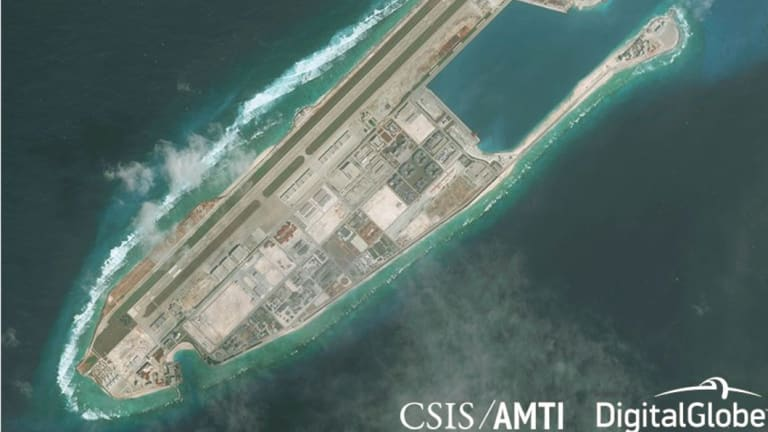 Fiery Cross Reef in January 2018 - one of the locations of the missile deployments.