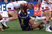 Crackdown: the NRL has tackles such as this one from Newcastle's Mitch Barnett in their sights.