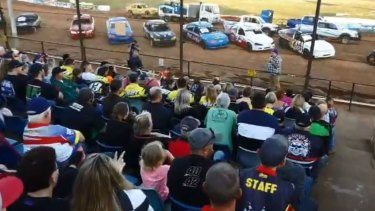 Not happy: Hundreds of fans staged a rally to protest against the state government's decision to acquire the Sydney Speedway.