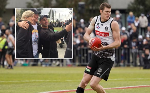 Magpie mania: Cox's parents mobbed at Collingwood training session