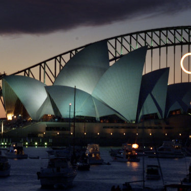 The sun sets on Sydney as the Olympics draw to a close on October 1, 2000.