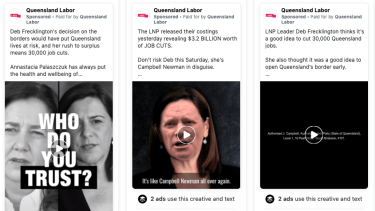 Facebook Ad Library view of a selection of advertisements run by Queensland Labor during the final days of the 2020 state election campaign.