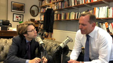 Former PM Tony Abbott in conversation with The Spectator in London.