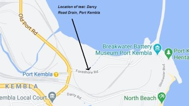 Map showing where contamination has been discovered at Port Kembla.