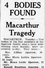 <i>The Age</i> report on the deaths of four members of the Sparrow family.