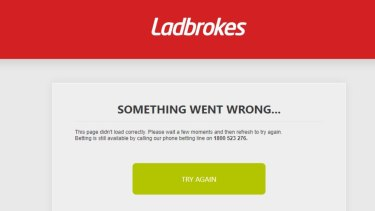 Ladbrokes' website and mobile app crashed on Tuesday, just hours before the Melbourne Cup.