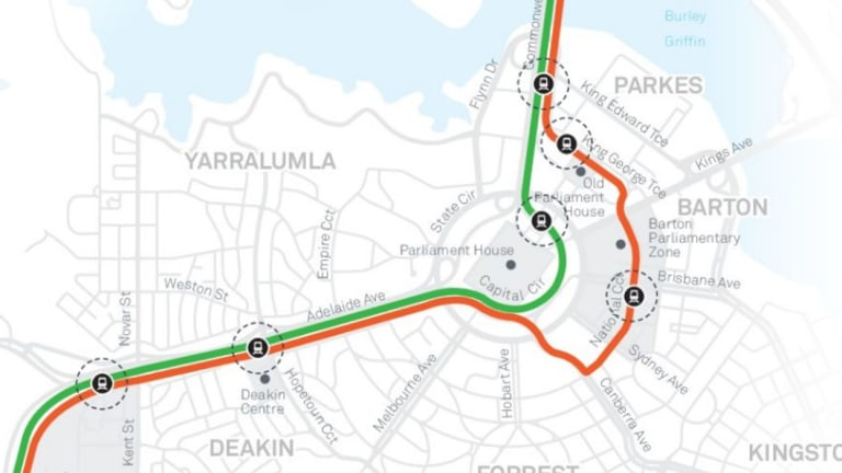 The two routes put out for public consultation earlier this year. The red route was the government's preferred option but a federal parliamentary committee found it would be more difficult to get approval for this option as it deviated from the National Capital Plan.