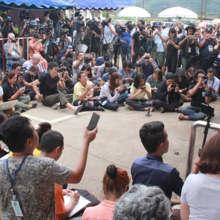 The media pack at the Thai cave press centre.