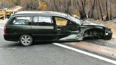 The Holden Commodore station wagon after the crash.