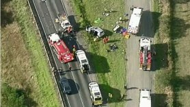 Emergency services at the scene of the fatal crash in Pakenham South in February that sparked the controversy.