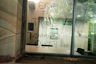 Transphobic graffiti scrawled on a window at Melbourne University in February.