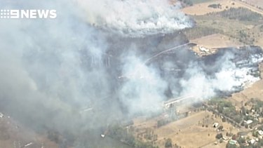 The view of the Bundamba bushfire from above earlier on Saturday.