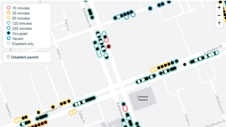 A map shows vacant car spaces at 11.20am on Monday, May 28.