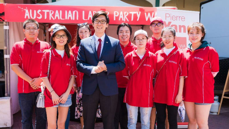 WA Labor MLC Pierre Yang with Labor supporters in May.