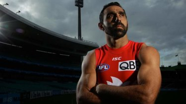 Sad farewell: Swans great Adam Goodes.