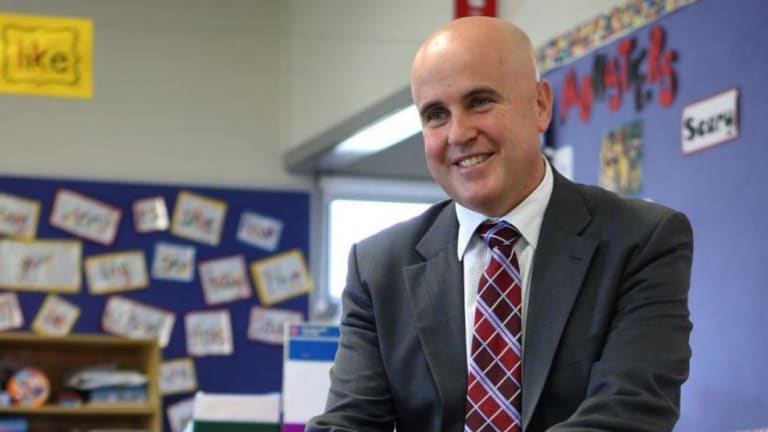Adrian Piccoli visiting a school when he was NSW education minister.
