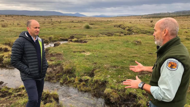 Matt Kean, NSW's new energy and environment minister (left), chose Kosciusko National Park as the first stop on his 'statewide listening tour'.