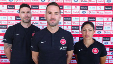 Dean Heffernan (centre) will steer the Western Sydney Wanderers into a new era in the W-League this season alongside assistants Michael Beauchamp and Catherine Cannuli.