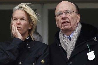 Like father, like daughter ... Rupert Murdoch, right, with Elisabeth Murdoch.