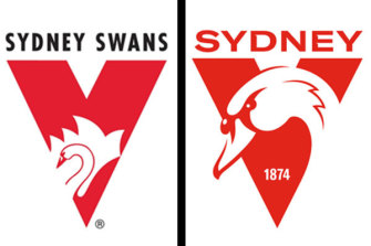 The old - and the new - logos of the Sydney Swans.
